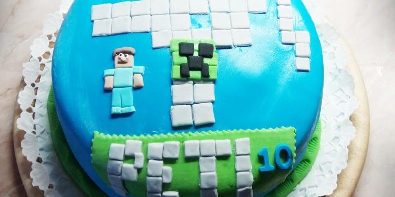 Kerek minecraft torta