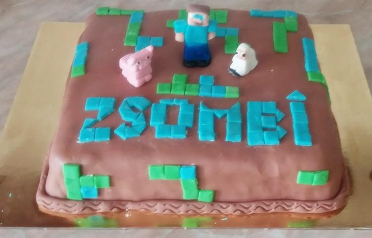 minecradt torta Zsombi felirattal