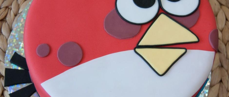 Piros Angry Birds torta